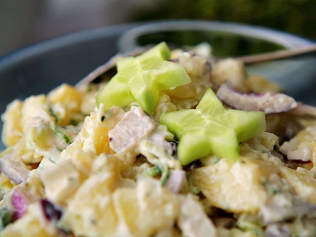 Tzatziki potato salad decorated with cucumber stars